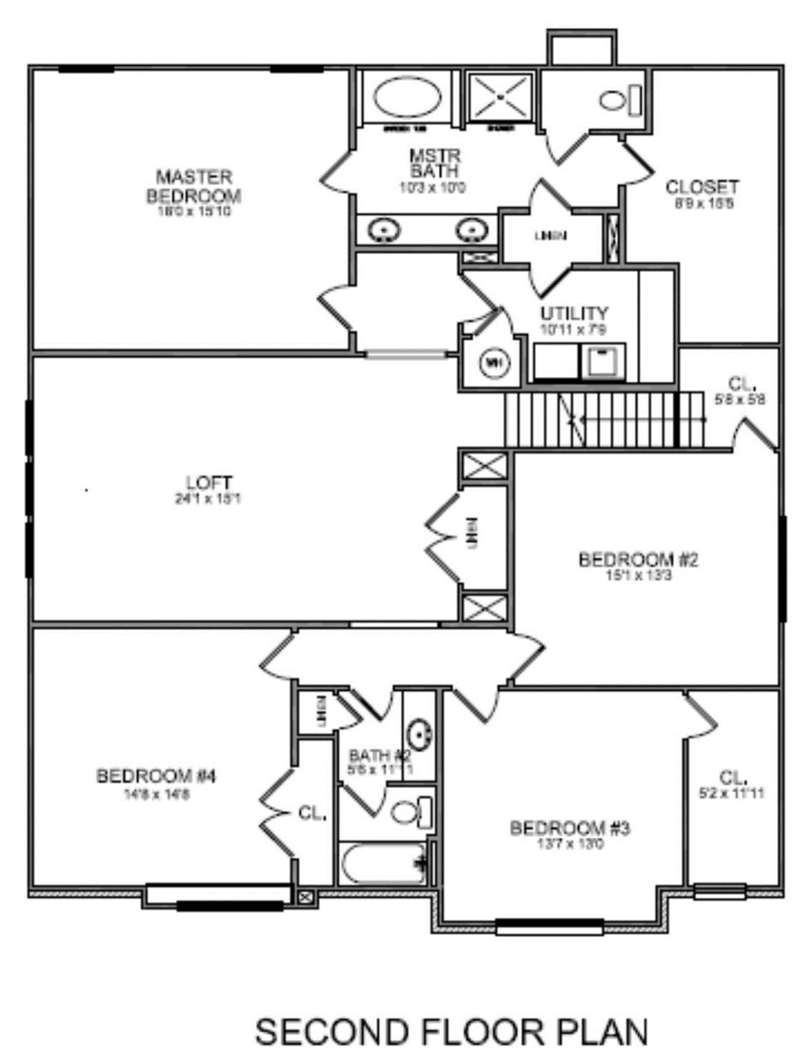 Upstairs master bathroom floor plans with walk in closet for Upstairs floor plans